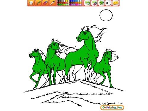 Online hra Omalovánka koně